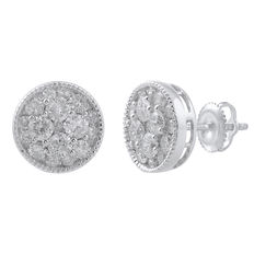 Brand new round brilliant diamond cluster earrings in a layered mille grain setting. 0.90ct total weight, set in 18kt white gold with a screw-back fastening. G/H colour, SI clarity