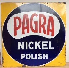 Large enamel advertising sign - Belgium - Pagra Nickel Polish - ca 1st half of the 20th century