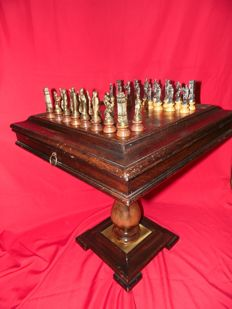 Chess table with brass top and backgammon game