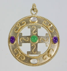 Pendant with cross and gemstones