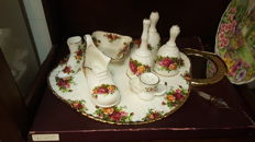 Set of 8 items from Royal Albert bone china Old Country Roses serie