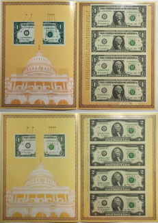 USA - $1 2009 and $2 2009 uncut sheets of 4