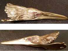 Susse Frères, mail clip in bronze, head of a bird with glass eyes - French - circa 1880
