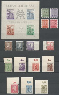 Germany 1945/1946 - Selection occupation - Michel block 5ya, 120x/123x, 150x, 151x, 153x, 155x, 1B/7B