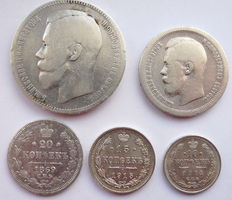 Russia - 5 coins 1869/1915 - silver