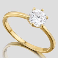 14KT gold ring set with created moissanites