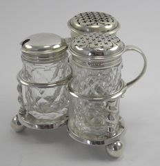 Antique silver cruet set on stand, George Fox, London 1873 & 1876