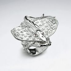 Ring in sterling silver with cubic zirkonia
