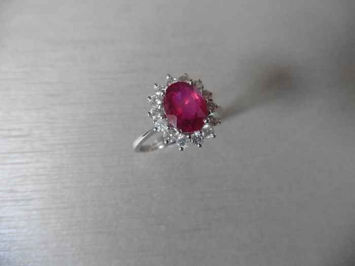 Platinum Ruby and Diamond Cluster Ring  - size 51