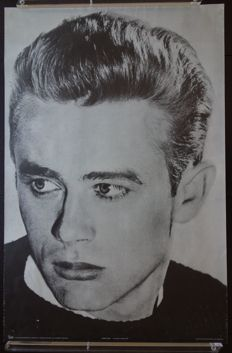 James Dean - large black and white photo lithographic poster - 1976