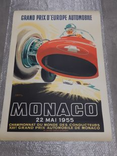 Original Vintage Monaco Monte Carlo Grand Prix F1 Poster 13th Grand Prix Automobile 22nd May 1955