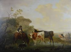 Follower of Eugene Verboeckhoven (1798-1881) - Cattle and figures in a landscape