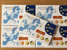 Germany - Year packs 2007A, D, F, G, J complete including 5x 2 Euro 'Treaty of Rome'