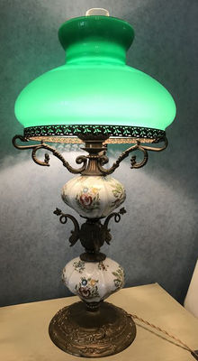 Table Lamp in Ceramic and bronze with glass Lampshade - first half of XX Century