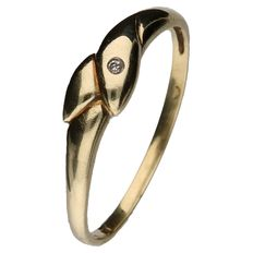 Yellow gold decorated ring set with a brilliant cut diamond of 0.002 ct