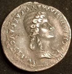 Roman Empire – Caligula (37-41 A.D.) & Agrippina Sr. (deceased 33 A.D.), AR denarius, 37-38 A.D. (RIC I 2nd print no.14)