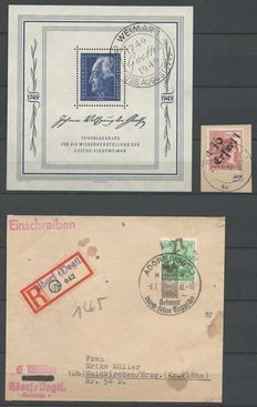 Germany 1948, selection Sovjetic zone, Michel block 6, 179II, 181V on letter