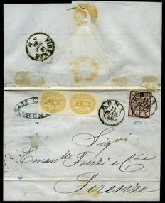 Papal States - 1866 - Taxed letter with 5 baj and a couple of postage due stamps - Italy c. yellow 10 - sassone n.  6 and Italy n.  1