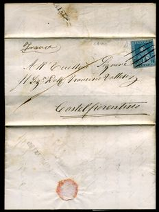 Grand Duchy of Tuscany - 1855 - 2 crazie cancelled with pen at destination - Sassone n.  5
