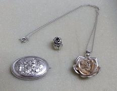 Antique rose piece of jewellery made of silver, 3 parts, handmade around 1920