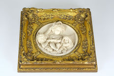 Marble putti relief in a gold-coloured wooden frame, mid 20th century