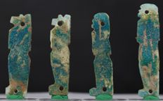 Egyptian green faience four Sons of Horus - ca. 5,6 cm c. 2,2 inches (4x)