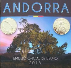 Andorra – Year pack Euro coins 2015 plus 2 x 5 Euros, probe 2003