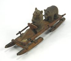 Antique Black Forest carved wooden figure group bears on a bobsleigh – German - ca. 1900