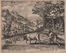 Jan Sadeler I (1550-1600) :  Cain and Abel working on the land - First state before the number  - 1583