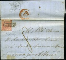 Kingdom of Naples - 26/10/1859 - Letter to Albano with 5 pink carmine grana, 2nd table - Fifth day of use - Sassone n. 9