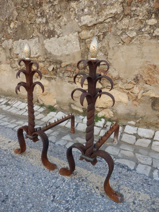 A set of wrought iron and bronze Fireplace Log Holders - Portugal - ca. 1900