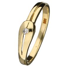 Yellow gold ring set with a 0.02 ct brilliant cut diamond