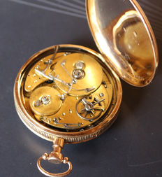 25 Swiss gold pocket watch -Lepine - quarter repetition and self-triggering musical piece.