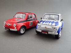 Road Signature - Scale 1/18 - Lot with 2 models: Fiat Abarth 695 SS #38 - Red & Fiat Abarth 695 SS #66 - Silver - 1963