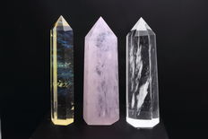 Set of pink, yellow and clear Quartz Points - 21.5 to 22cm - 2,92kg  (3)