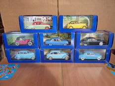 Atlas - Echelle 1/43 - Lot with 8 model cars from Collection at Kuifje in the car Editions Moulinsart