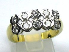 18kt/750 yellow gold ring with approx. 1.0ct TW/IF-VSI brilliant diamonds - size: 54/17.2mm