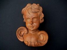 Large putto/angel sculpture carved from oak wood - France - circa 1900