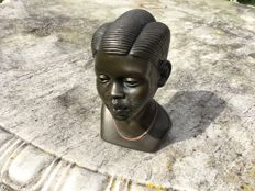 2-tone bronze bust of a South African young lady