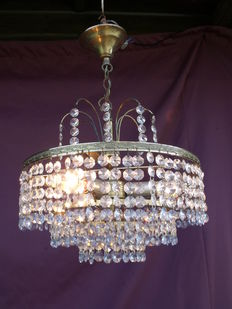 Vintage chandelier with cut glass crystals - France - 1950/1960