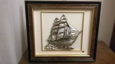 Silver painting with golden finishes depicting a sailing ship - mid 20th century - Florence