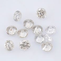 12 Diamonds - 0.15 ct. Natural Round Brilliant - *** NO RESERVE ***