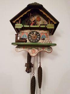 Musical, animated, cuckoo clock - West Germany.