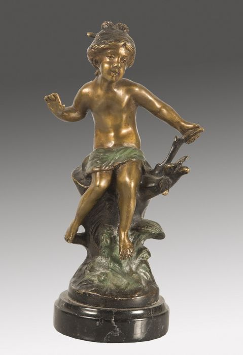 Bronze figure of partially golden and patinated Girl
