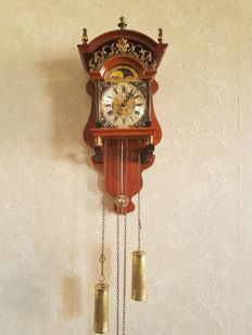 Walnut Salland wall clock - richly decorated with moon phase - 2nd half 20th century