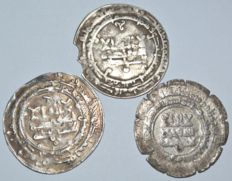 Islamic - Samanid Empire. A lot of 3 AR Dirham, 9th-10th century. Mint Samarkand, al shash (Uzbekistan) and Nishapur( Iran )