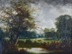 Unknown (19th century) - A countryside landscape with grazing cattle