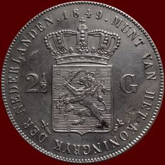 The Netherlands – 2½ guilder coin  1849 – Willem II – silver.