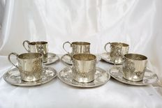 Set of six cups and six matching saucers, sterling silver, France, Art Nouveau era