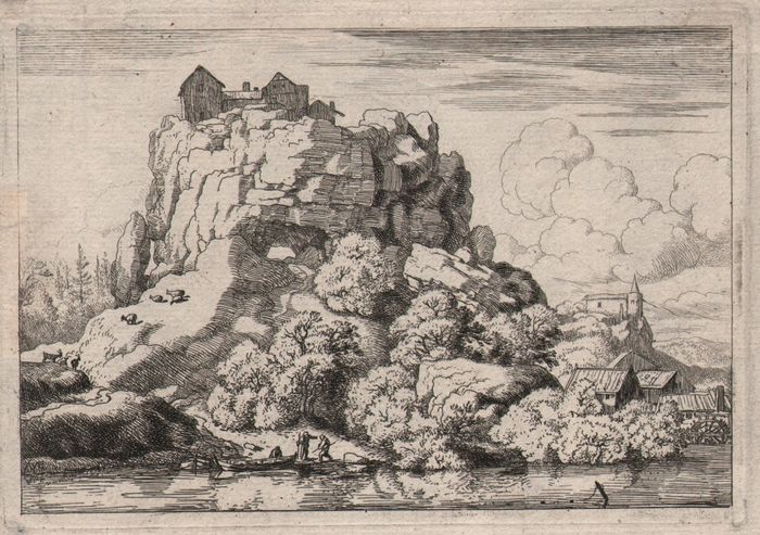 Allard van Everdingen  (1621 - 1675) -  The house on top of a steep cliff - Ca. 1660